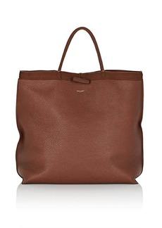 Saint Laurent Women's Patti Leather Shopping Tote Bag - Brown