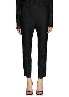 Saint Laurent Women's Piqué Wool-Mohair Tuxedo Trousers