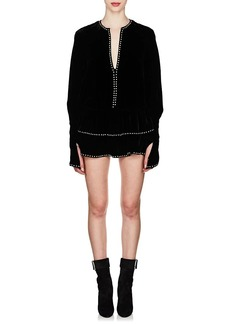 Saint Laurent Women's Ruffled-Hem Studded Velvet Dress