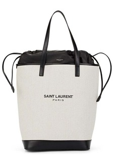 Saint Laurent Women's Teddy Leather-Trimmed Linen Tote Bag - White