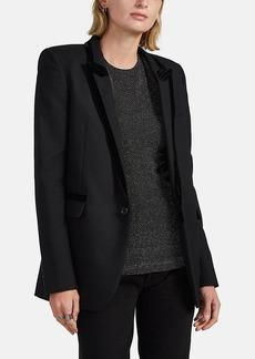 Saint Laurent Women's Velvet-Trimmed Wool Blazer