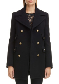 Saint Laurent Wool & Angora Peacoat