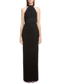Saint Laurent Wool Halter Gown