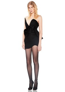 Saint Laurent Wool Strapless Ruffle Trim Mini Dress