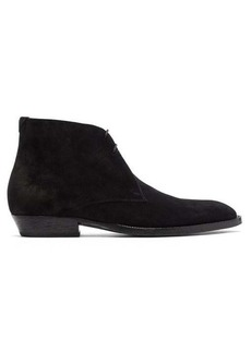 Saint Laurent Wyatt suede-leather ankle boots.