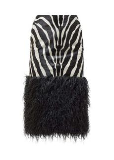 Saint Laurent Zebra-print calf-hair skirt