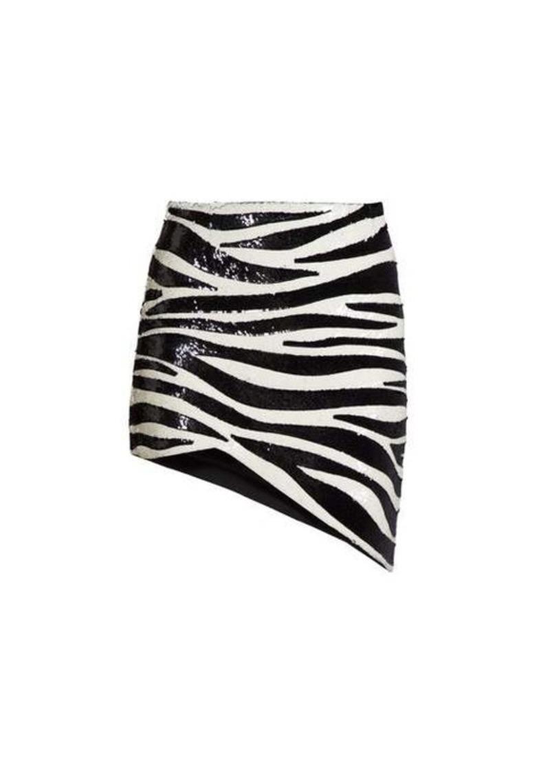 Saint Laurent Zebra-sequinned asymmetric mini skirt