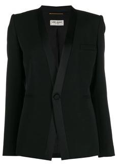 Saint Laurent satin-trimmed lapelless tuxedo blazer