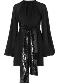 Saint Laurent Sequin-embellished Silk-georgette Mini Dress