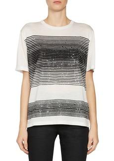 Saint Laurent Sequin Stripe Jersey T-Shirt