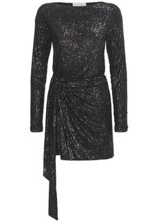 Saint Laurent Sequined Draped Mini Dress