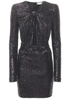 Saint Laurent Sequined Jersey Mini Dress