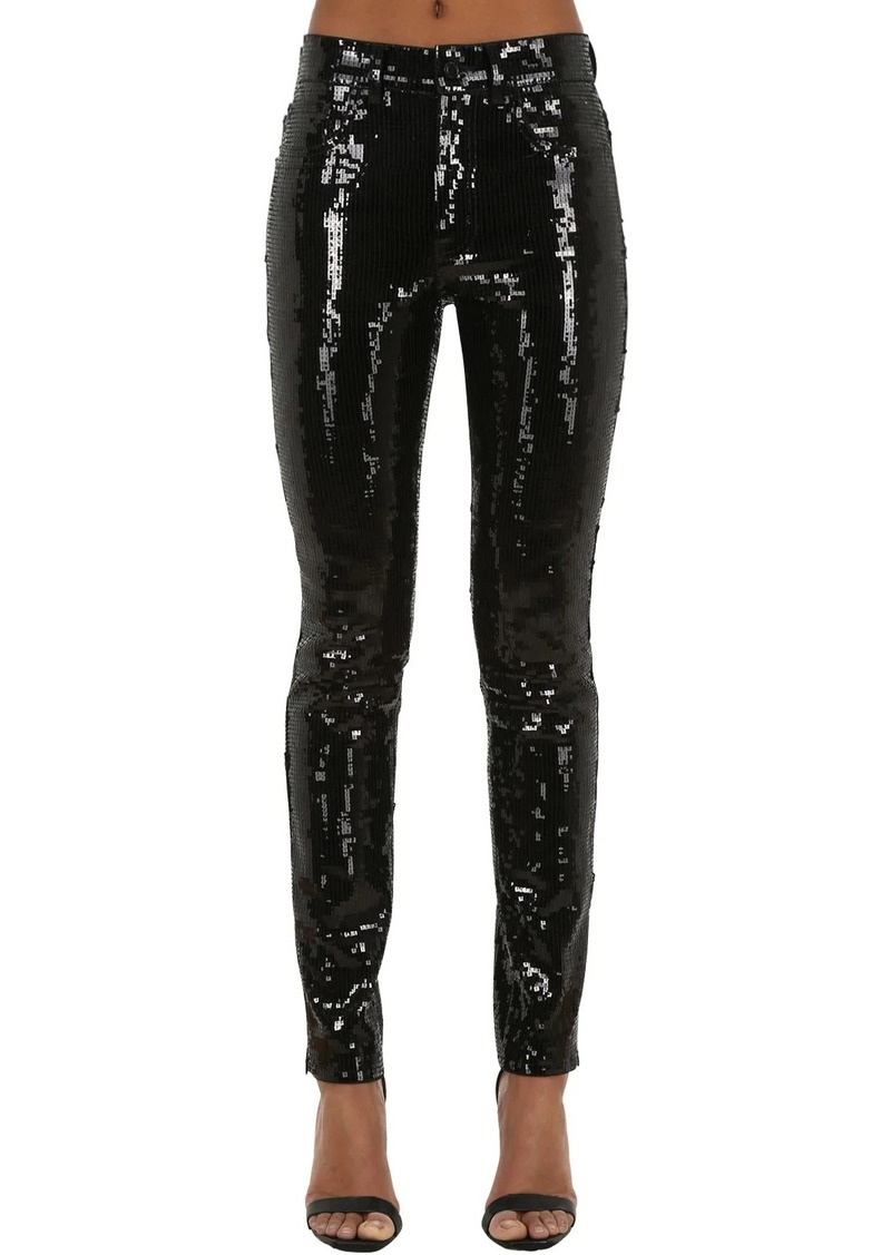 Saint Laurent Sequined Skinny Stretch Jeans