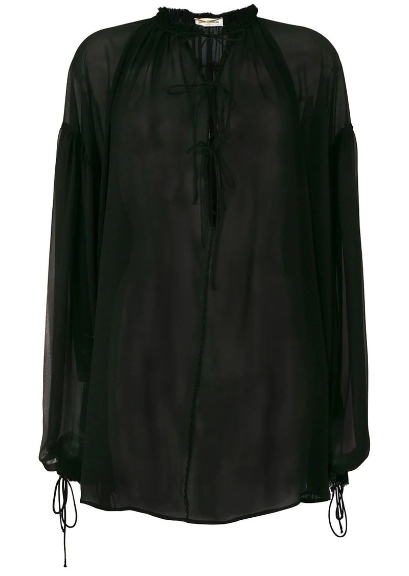 Saint Laurent sheer tie neck blouse