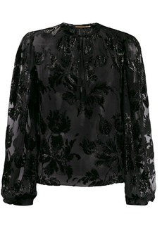 Saint Laurent shiny floral-embroidered blouse