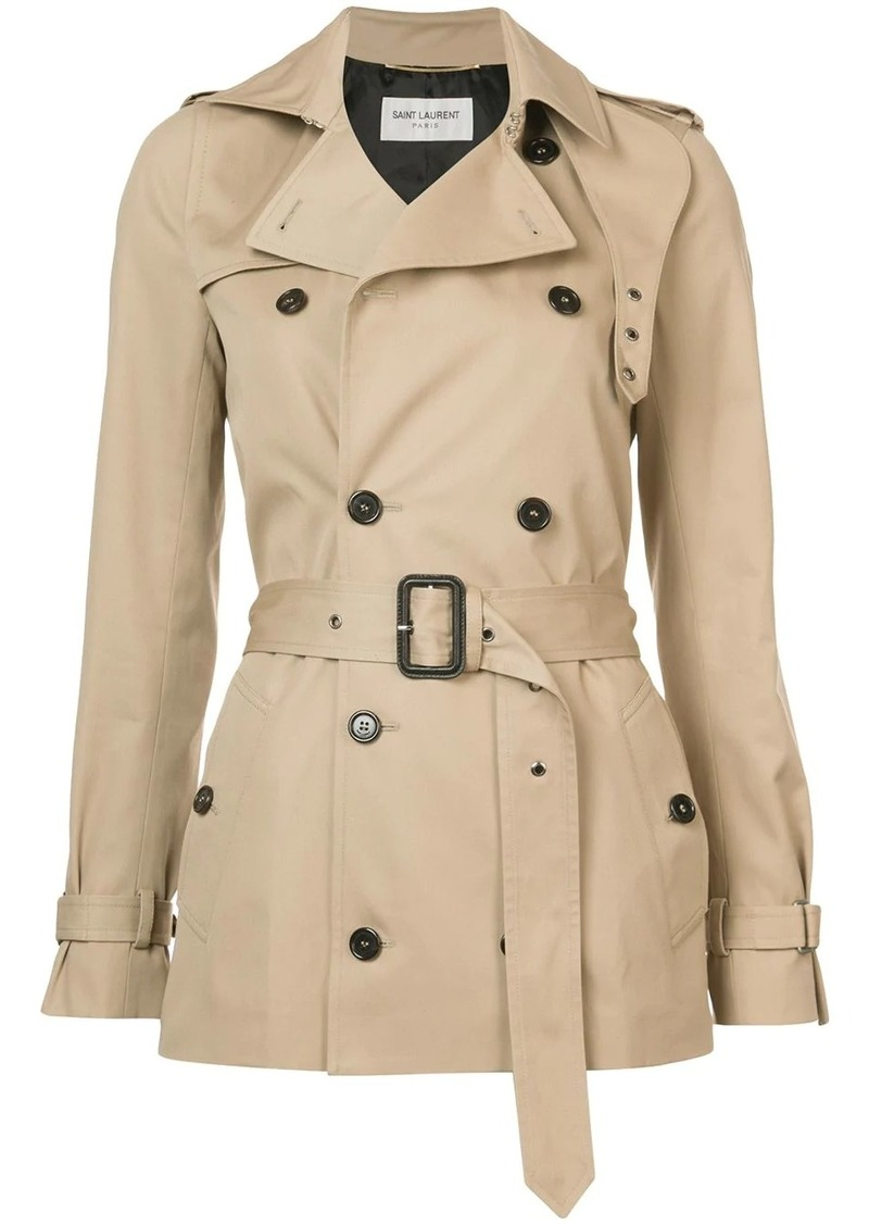 Saint Laurent short garbadine trench coat