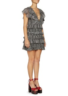 Saint Laurent Silk Georgette Mini Leopard Print Ruffle Dress