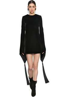 Saint Laurent Silk Velvet Mini Dress W/ Tassels