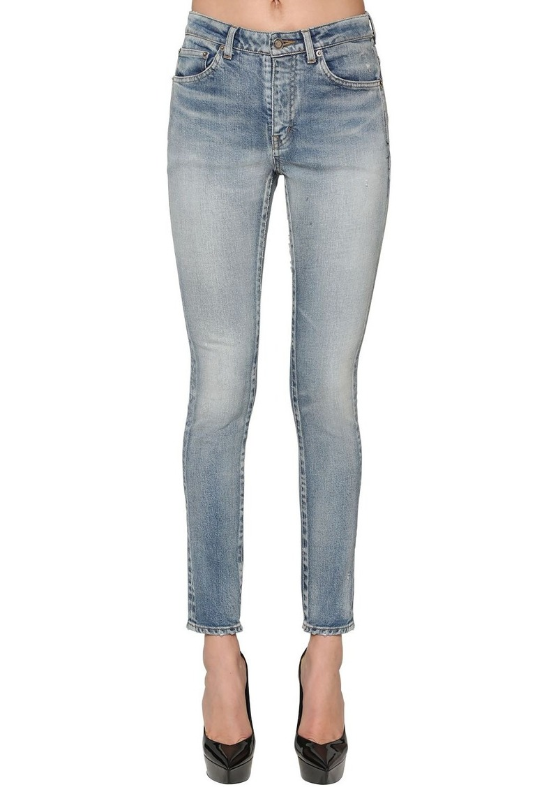 Saint Laurent Skinny Cotton Blend Denim Jeans