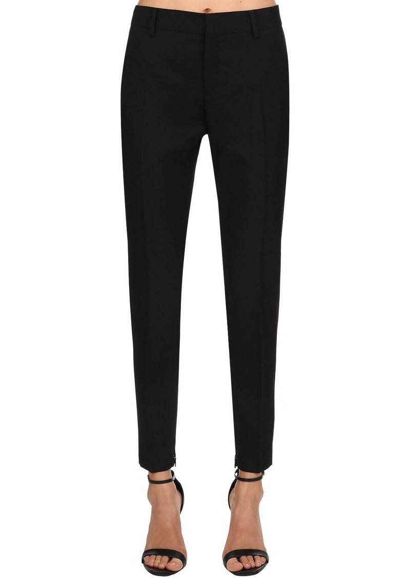 Saint Laurent Skinny Regular Waist Wool Gabardine Pant