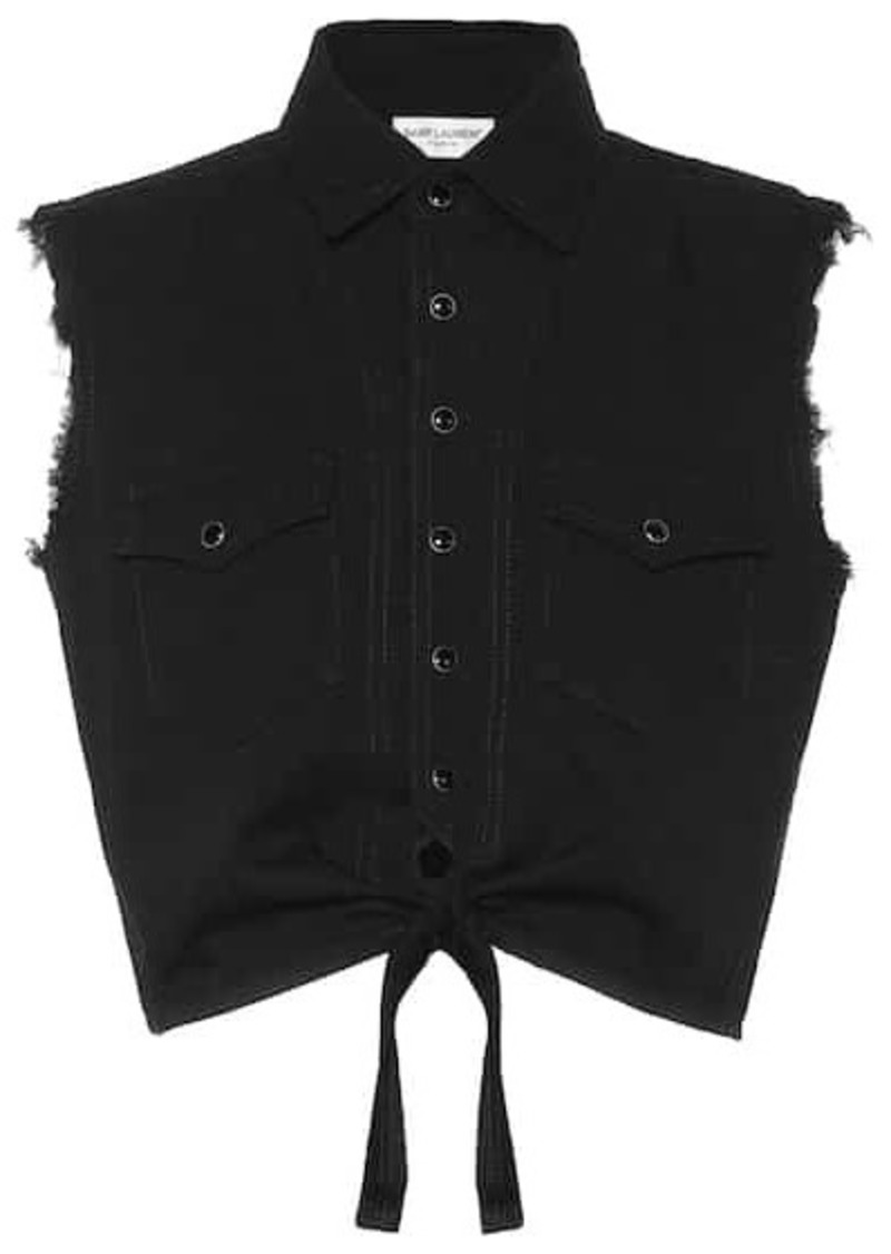 Saint Laurent Sleeveless cropped denim top