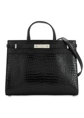 Saint Laurent Sm Manhattan Croc Embossed Leather Bag