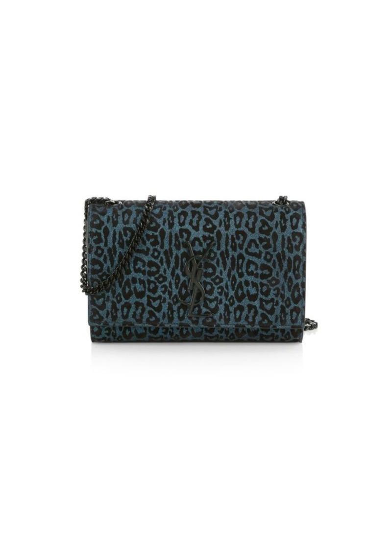Saint Laurent Small Kate Metallic Leopard-Print Suede Shoulder Bag