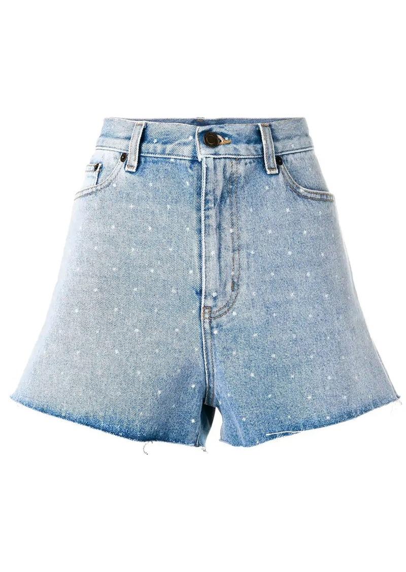Saint Laurent spotted back denim shorts