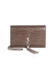 Saint Laurent Stamped Croc Kate Wallet-On-Chain