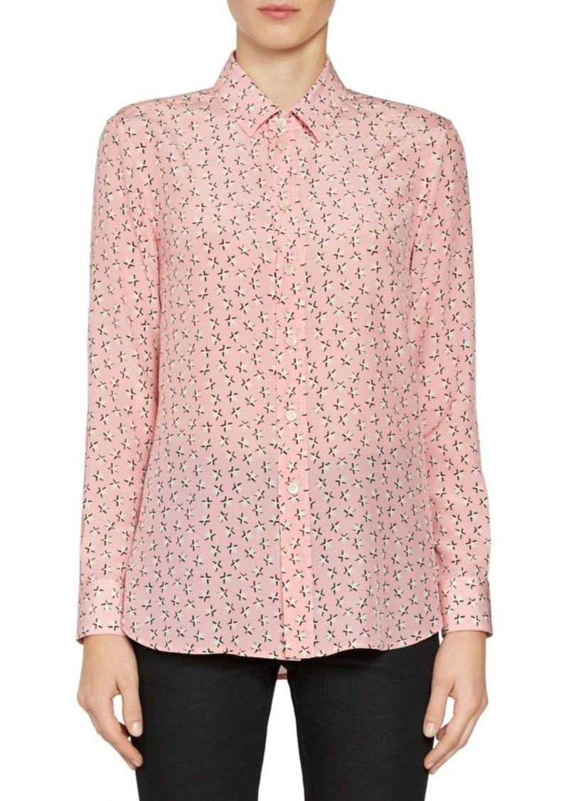 8b0a76bfda0e0 Saint Laurent Star Print Silk Button Down Blouse