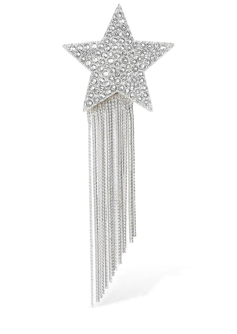 Saint Laurent Stars & Love Star Brooch W/ Crystals