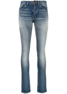 Saint Laurent stonewashed high-rise skinny jeans