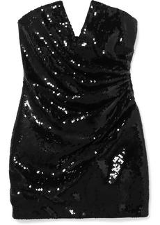 Saint Laurent Strapless Sequined Crepe Mini Dress