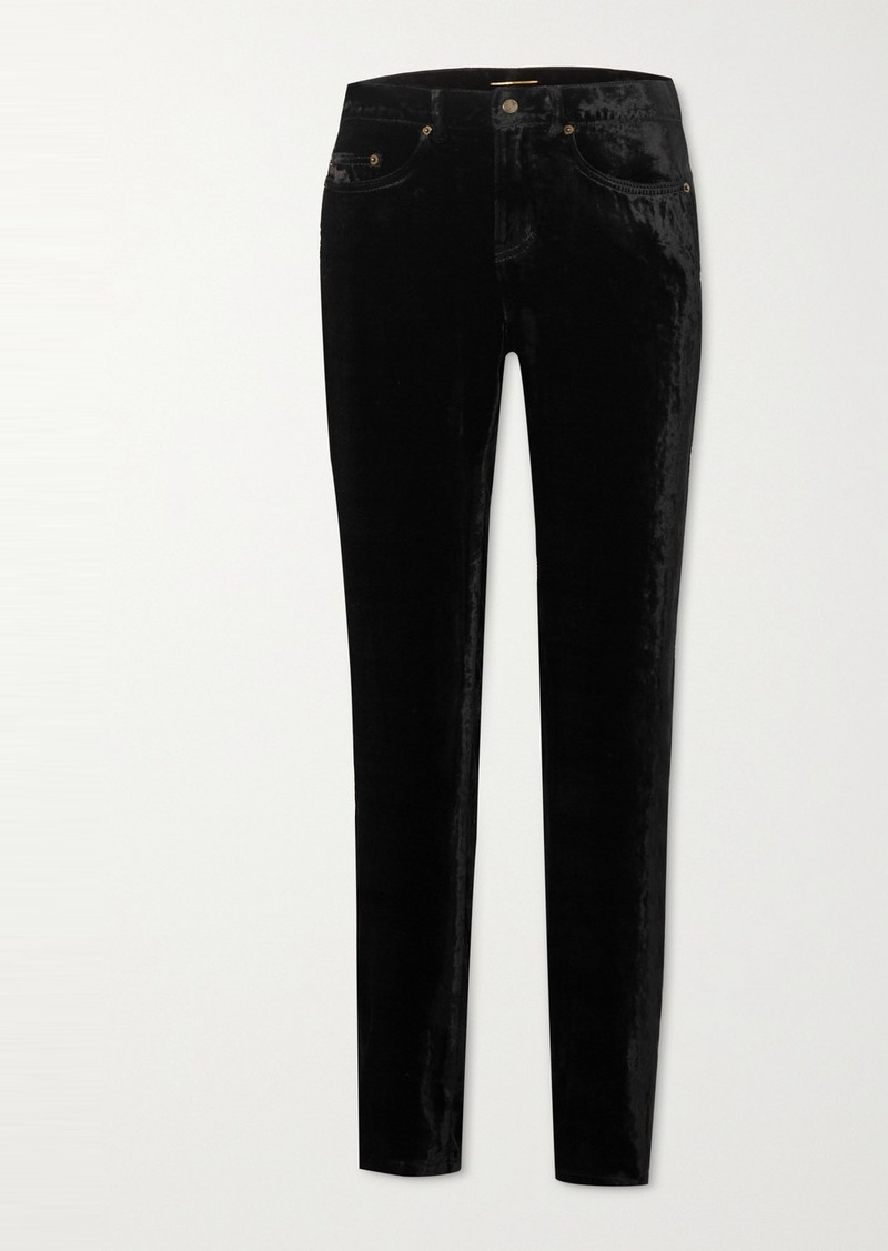 Saint Laurent Stretch-velvet Skinny Pants