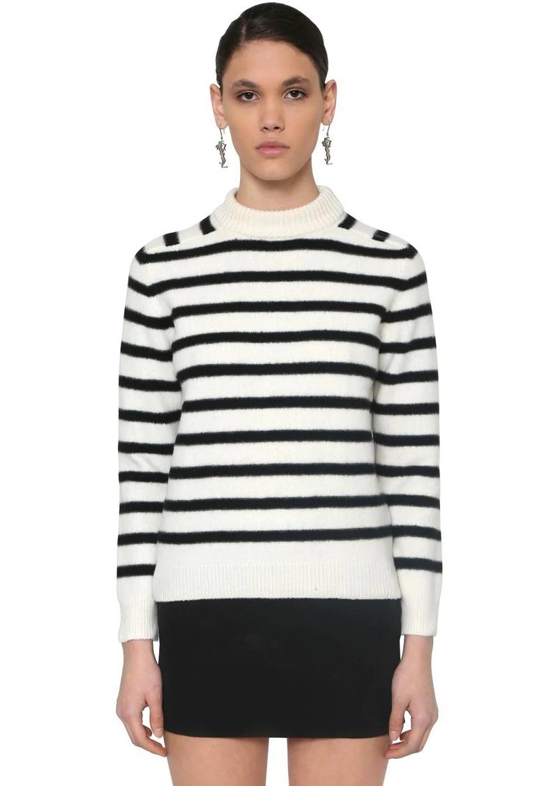 Saint Laurent Striped Intarsia Wool Knit Sweater