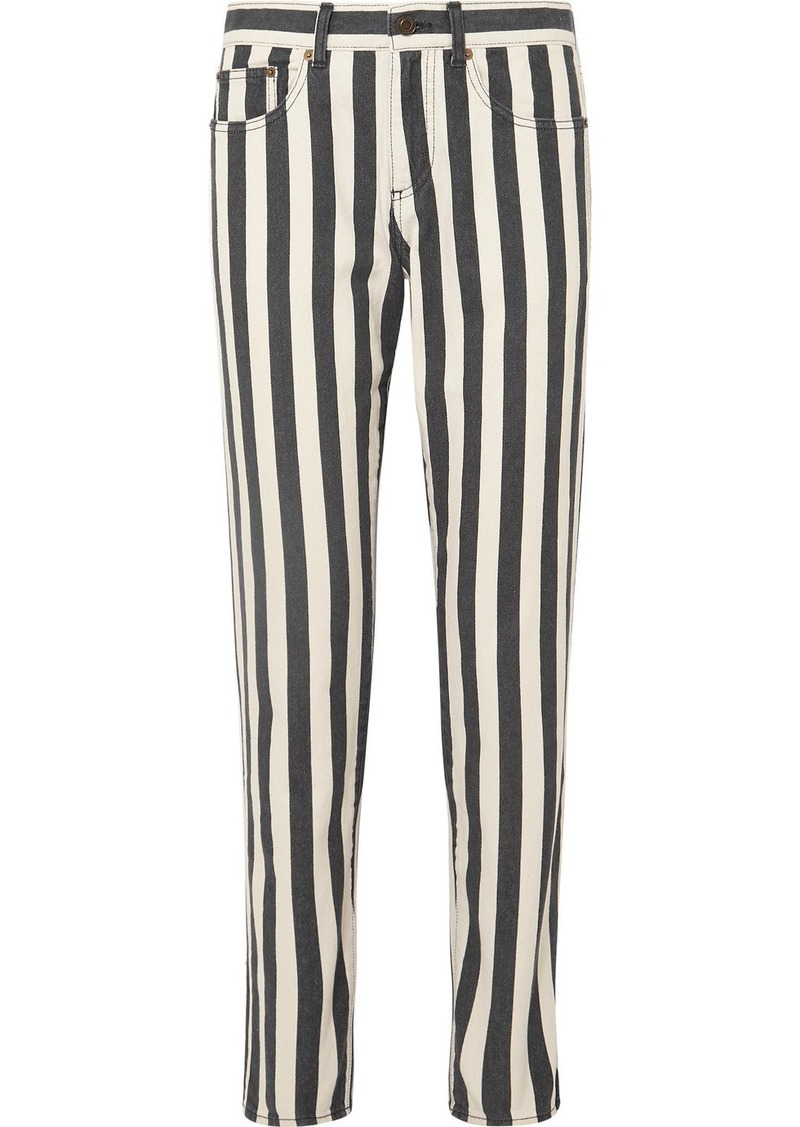 Saint Laurent Striped Low-rise Slim-leg Jeans