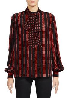 Saint Laurent Striped Star Print Tie-Neck Blouse