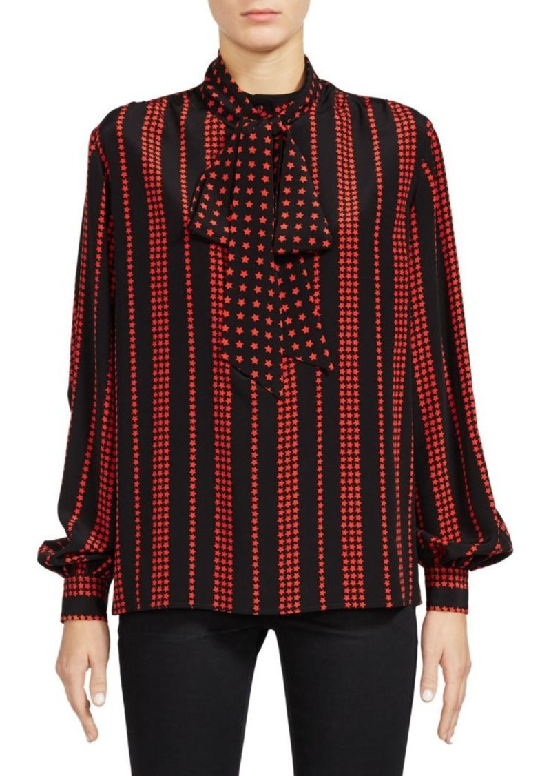 Saint Laurent Striped Star Print Tie-Neck Blouse