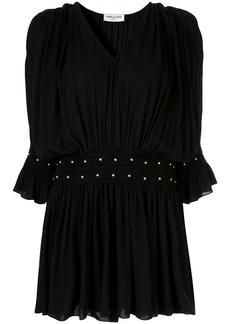 Saint Laurent stud detail gathered dress