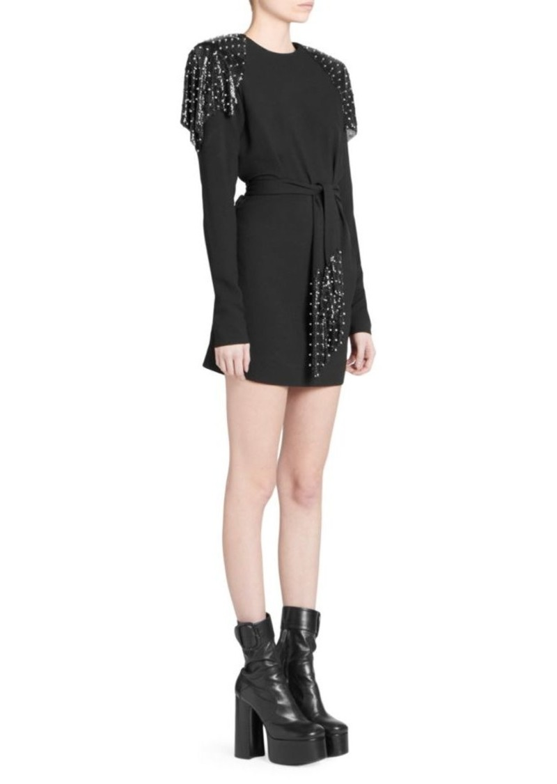 Saint Laurent Studded Epaulette Mini Dress