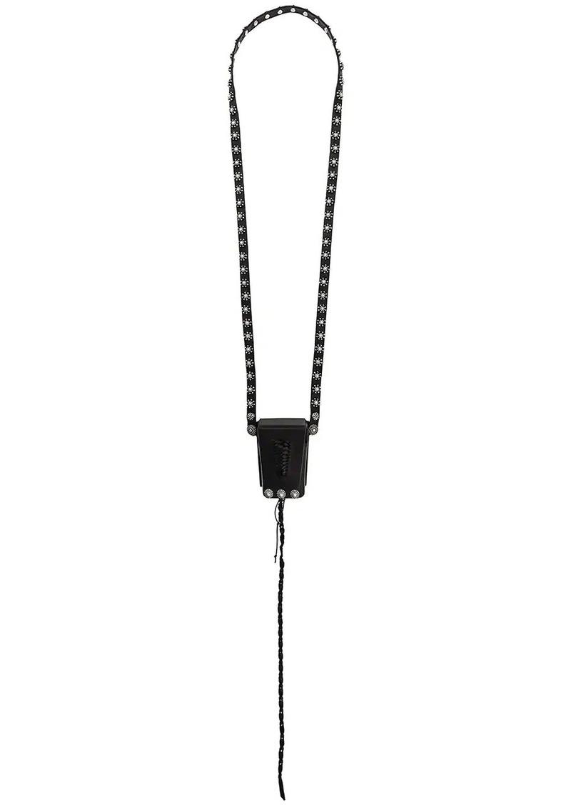 Saint Laurent studded pouch necklace