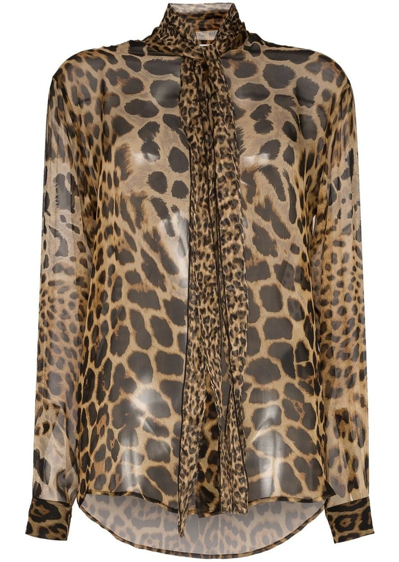 Saint Laurent tie-neck leopard-print blouse