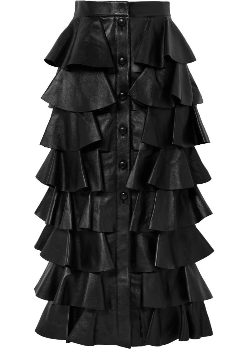 Saint Laurent Tiered Ruffled Leather Maxi Skirt