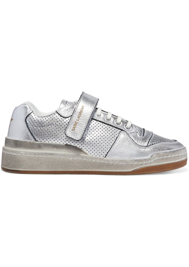 Saint Laurent Travis Logo-print Distressed Perforated Metallic Leather Sneakers