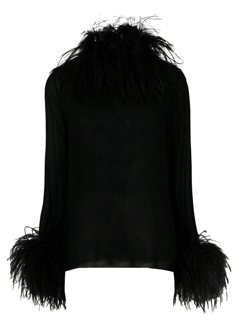 Saint Laurent trimmed collar and cuff blouse