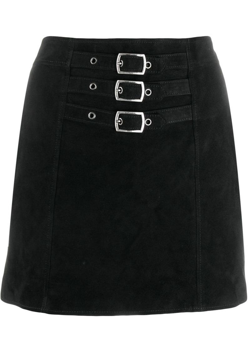 Saint Laurent triple buckle mini skirt