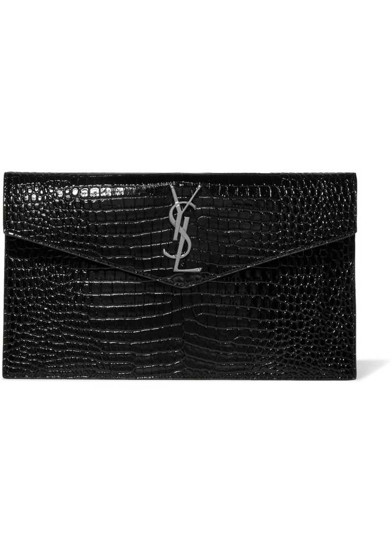 Saint Laurent Uptown Croc-effect Patent-leather Clutch