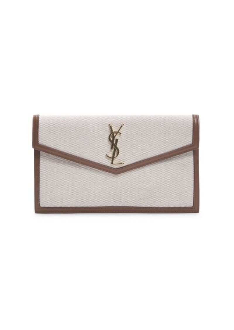 Saint Laurent Uptown Leather-Trim Canvas Clutch