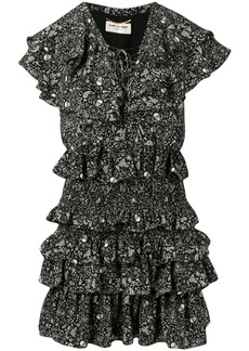 Saint Laurent USA Skull ruffled chiffon dress
