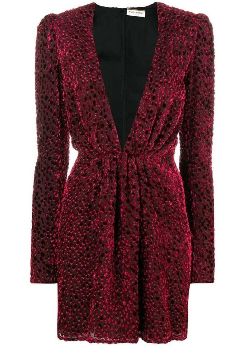 Saint Laurent velvet-flocked dress